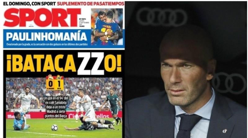 "Zidane ko col Betis: in Spagna è un ""Batacazzo"""