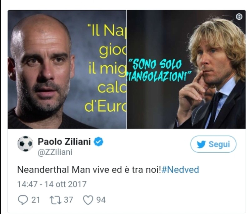 Foto nedved lancia frecciate al napoli ziliani replica for Ziliani twitter
