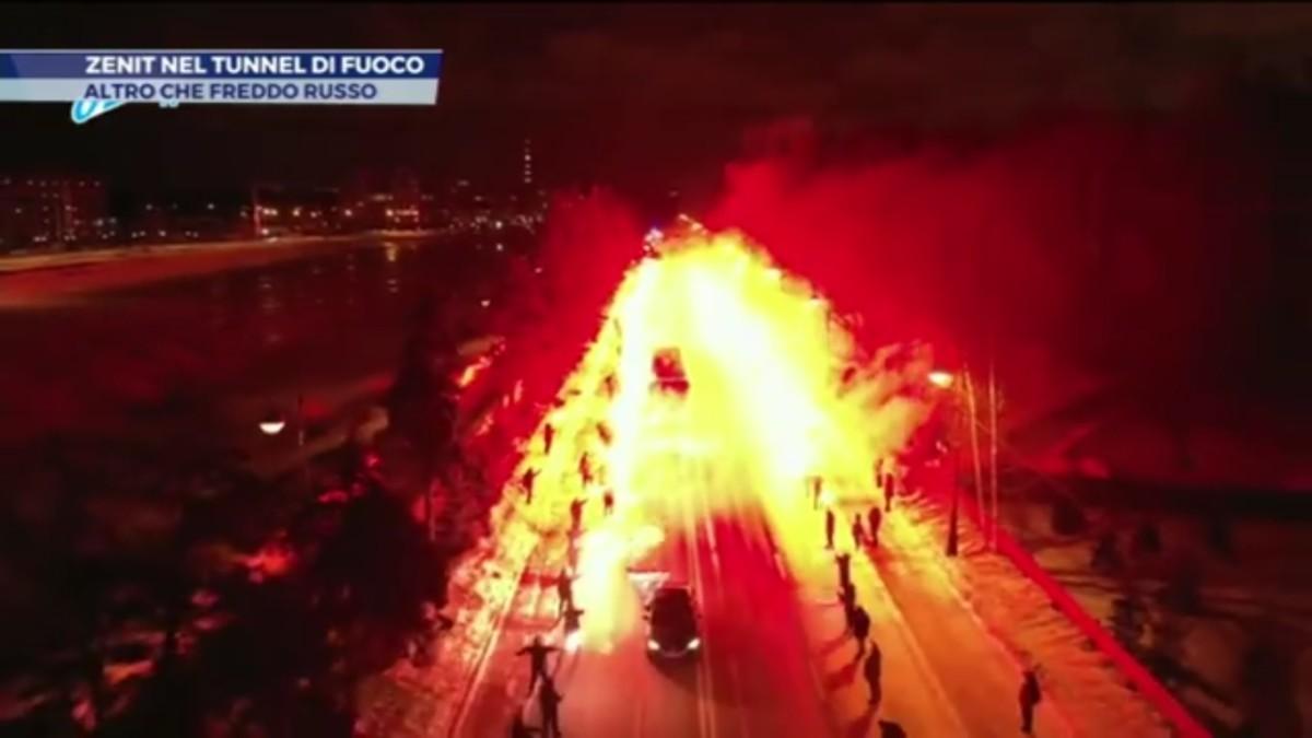 [VIDEO] – Tifosi Zenit…un'accoglienza di fuoco!