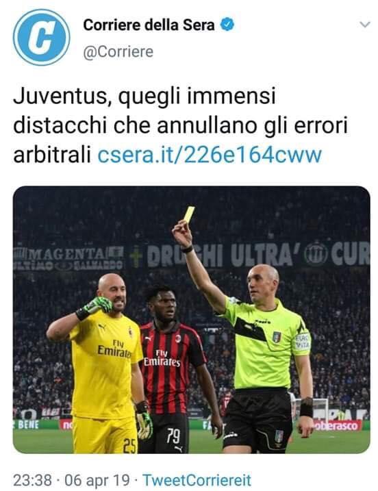 """Corriere della Sera: """"Juventus-Milan, i bianconeri annullano gli errori arbitrali"""""""