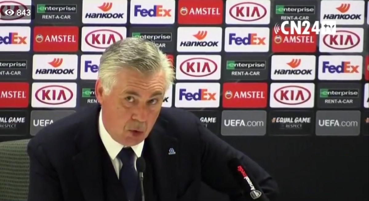 """Ancelotti in conferenza: """"Domani possiamo raggiungere gli 80 punti per chiudere bene la stagione. Insigne resterà. Cessioni scelte già fatte. Non mi interessa fare il manager. Su Lozano, Trippier, Barella e lo Stadio…"""""""
