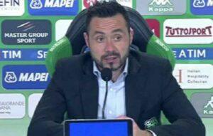"""De Zerbi: """"Siamo forti anche con tanti assenti, vogliamo fare risultato"""""""