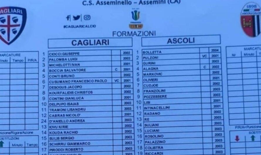 DISTINTA -Cagliari-Ascoli (Primav. 1): stavolta i SARDI fanno CINQUINA!
