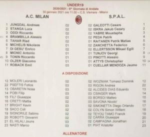 DISTINTA – MILAN-SPAL (PRIMAVERA 1): I ROSSONERI TORNANO AL SUCCESSO